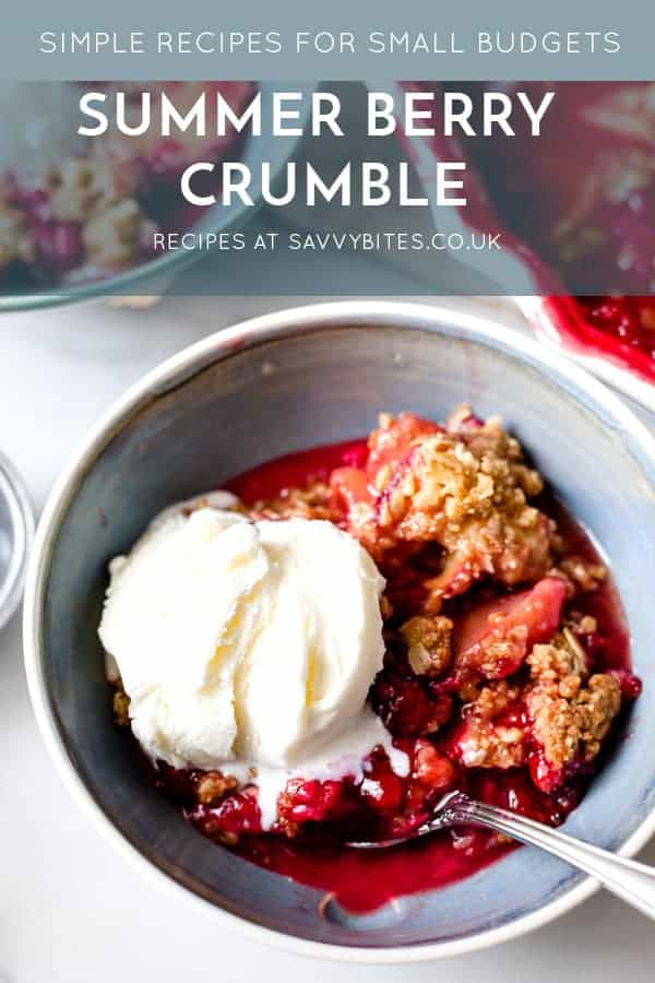 Close up of fruit crumble with melting ice cream and text overlay.