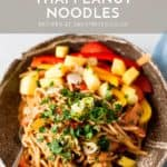 Chinese noodles in a bowl with text overlay