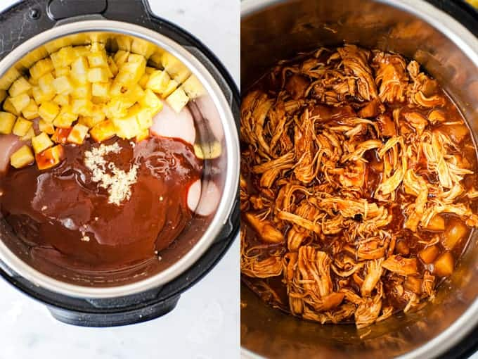 Pineapple BBQ pulled chicken in the crockpot.