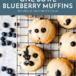 blueberry muffins top down photo. With text overlay.