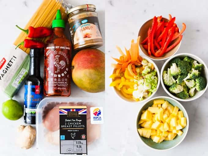 Ingredients for Chinese Noodles cooked Asian style laid out on a table.