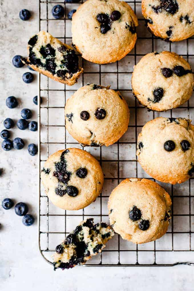 blueberry muffins top down photo.