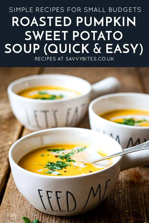 3 bowls of soup on a wooden table with text overlay
