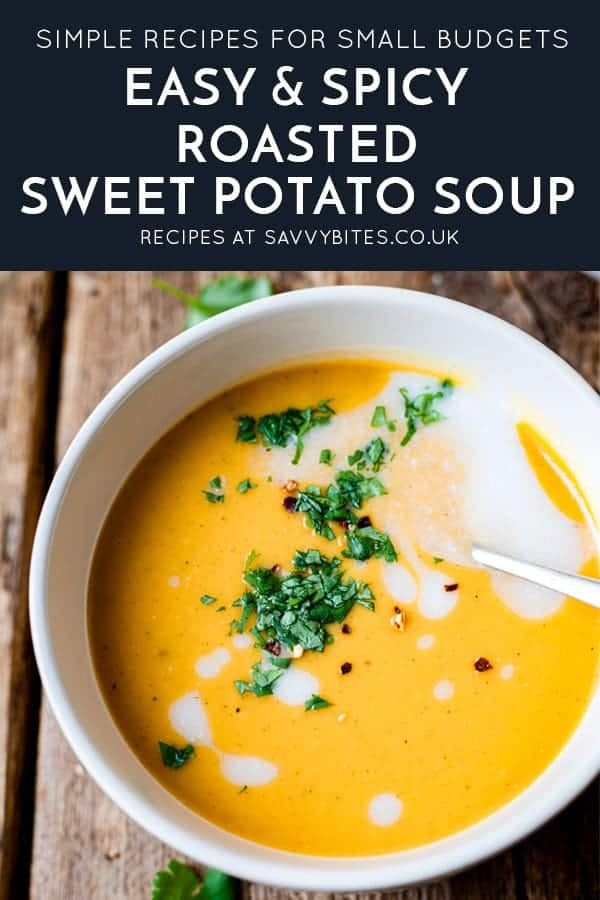 Freezer friendly butternut squash soup in a bowl with text overlay.