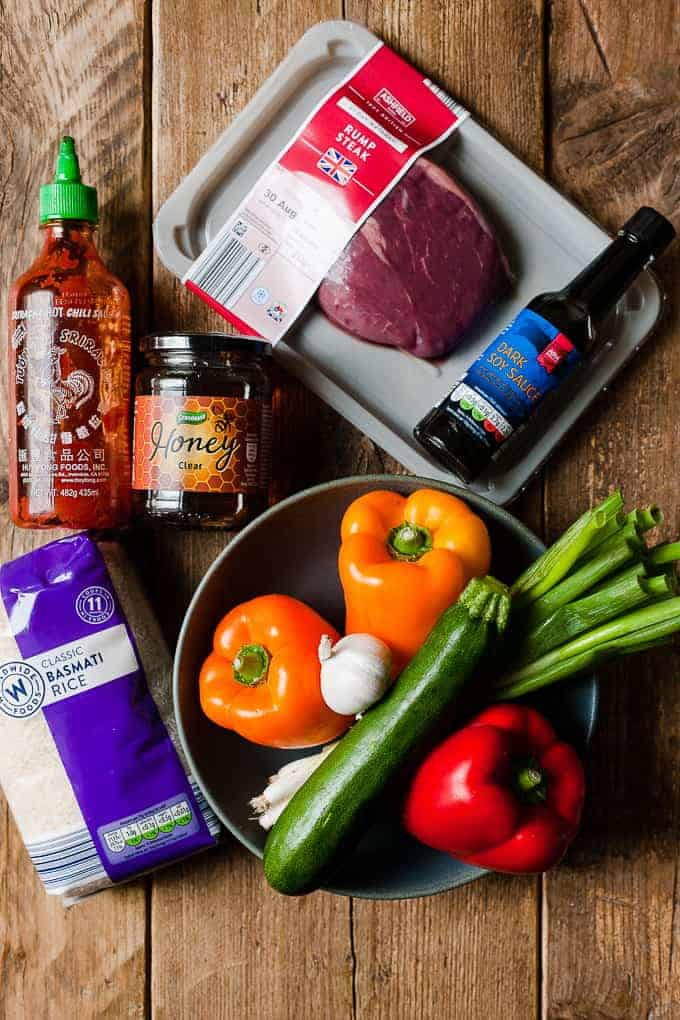 showing ingredients for a beef stir fry. All from Aldi UK