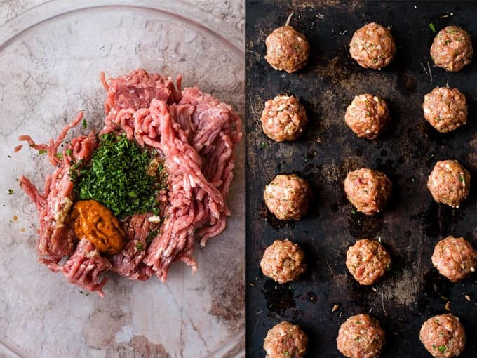 Step 1 & 2 how to make turkey meatballs using Aldi Uk Ingredients