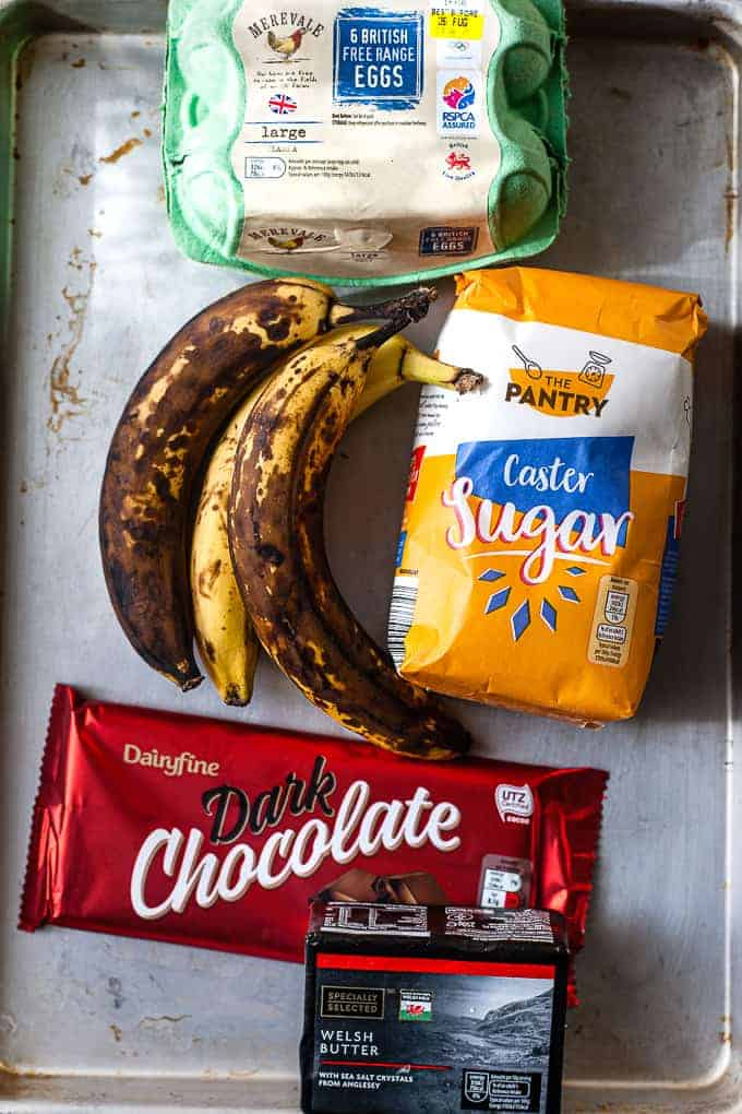 Aldi ingredients laid out for easy banana bread.
