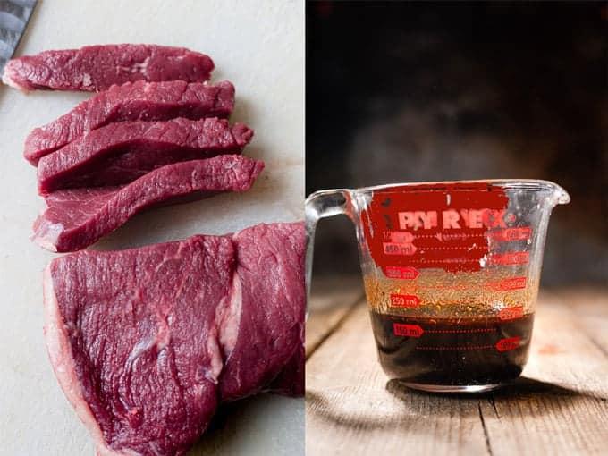 Beef being cut across the grain. Step 1 & 2 of stir fry making