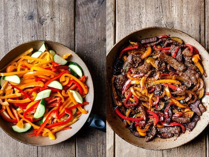 step 3 & 4 stir fry making. Vegetables in a skillet and beef and vegetables in a skillet.