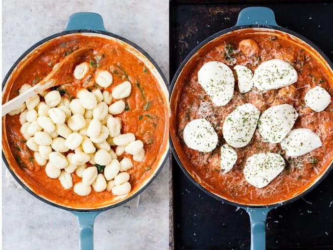Step 3 & 4 for making gnocchi pasta bake using Aldi ingredients.