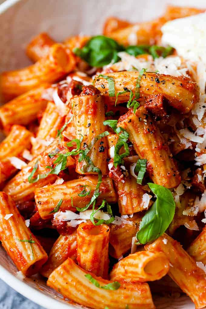 Chorizo pasta in a bowl using Aldi ingredients.