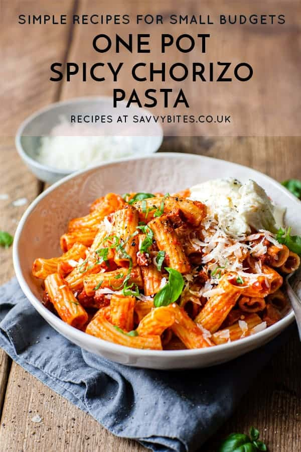chorizo pasta in a bowl with text overlay.