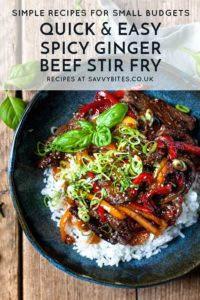 Korean Beef stir fry in a bowl with text overlay
