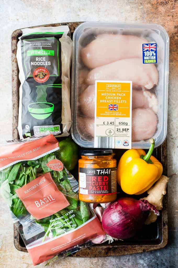 Ingredients for Thai Chicken Noodle Soup all from Aldi UK