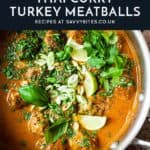 Turkey meatballs with spring onion in a pan with text overlay.