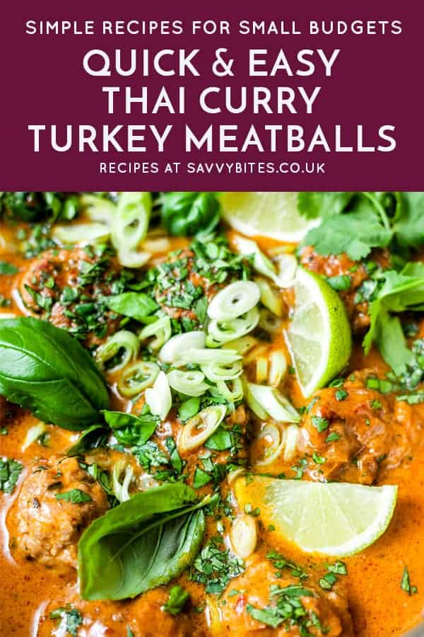 Turkey meatballs in a pan with text overlay.