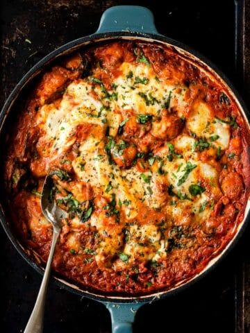 tomato gnocchi bake made using Aldi ingredients.
