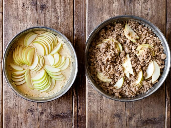Cake with apple crumble topping step 3 & 4. using Aldi Ingredients.
