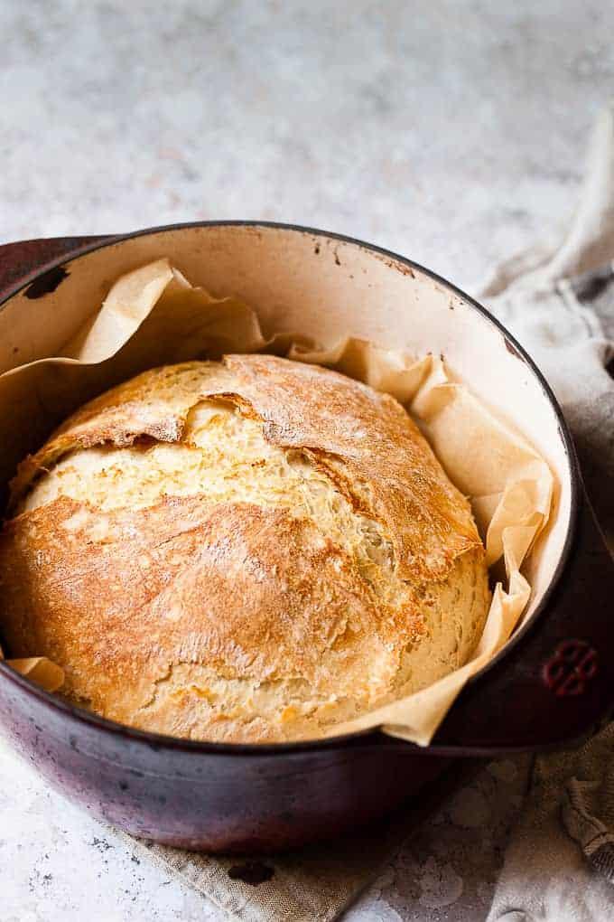 Basic bread a no-knead bread recipe made using Aldi ingredients.