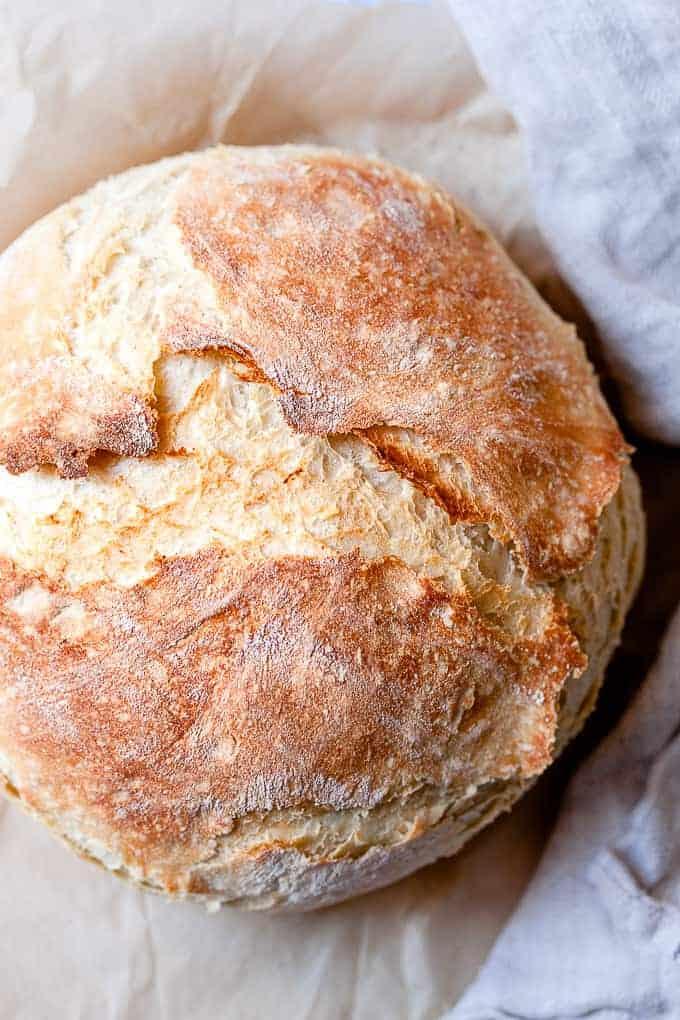 No-knead basic bread on paper using Aldi ingredients.