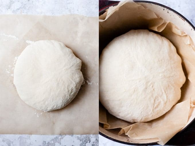 Step 5 & 6 making no-knead bread using ingredients from Aldi UK.