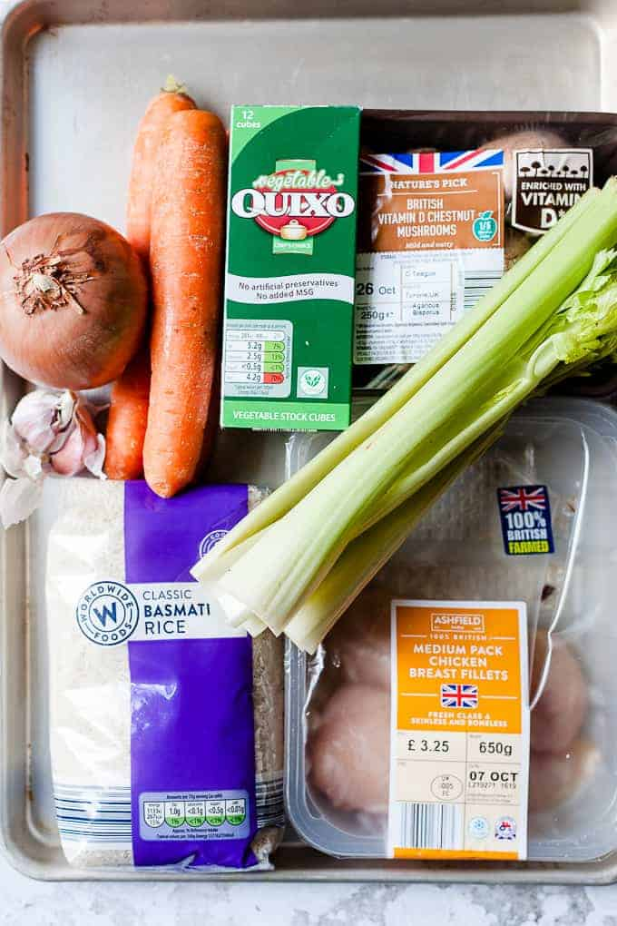 Ingredients for Chicken and rice soup all from Aldi UK