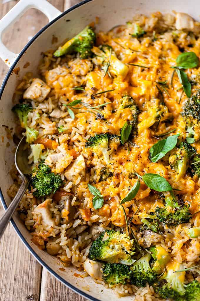 Chicken and broccoli casserole with cheddar using Aldi ingredients.