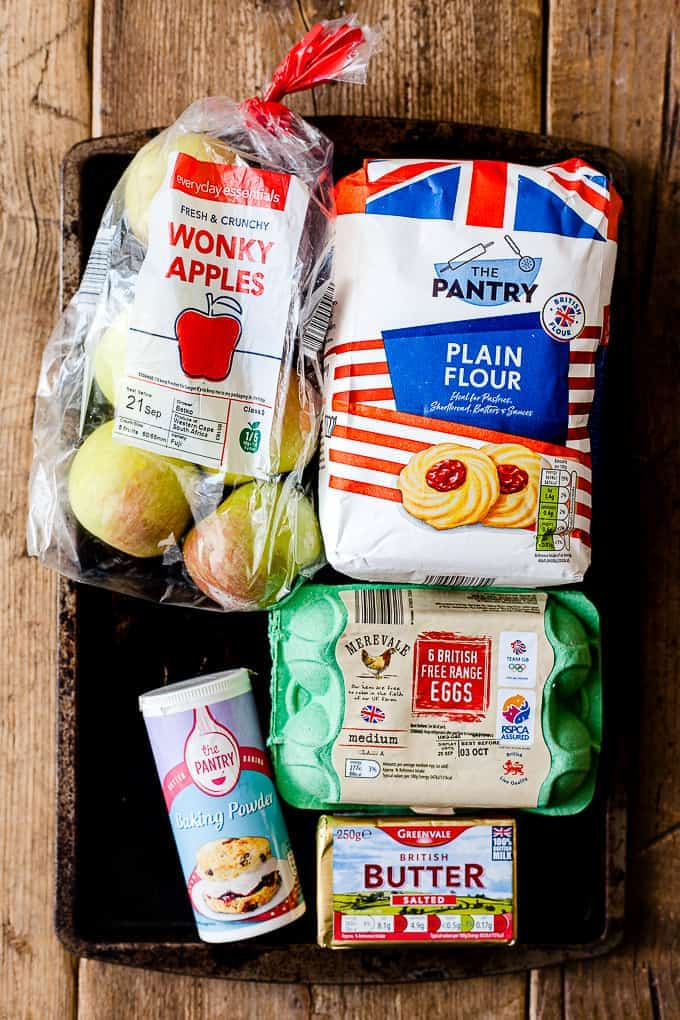 Aldi Ingredients for apple crumble cake.