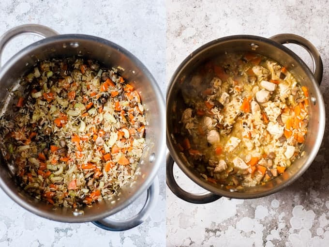 Making Chicken soup with rice with Aldi Ingredients Step 3 & 4