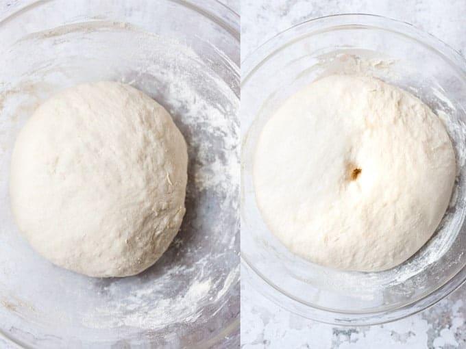Step 2 & 3 making no-knead bread using Aldi ingredients.