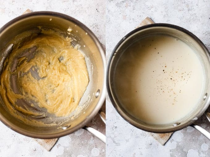 Step by Step making a roux sauce to thicken chicken soup.