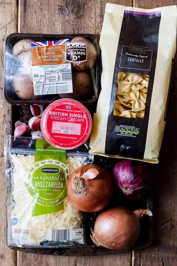 Aldi ingredients for making vegetarian mushroom pasta bake.