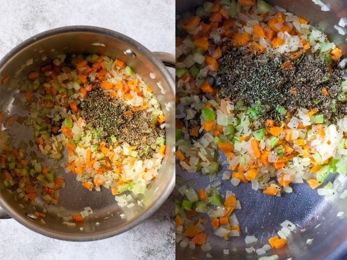 Pasta soup step by step with carrot celery and onion and dried herbs.