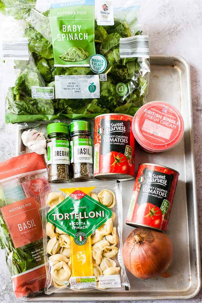 Aldi ingredients for making vegetable pasta soup using tortellini.