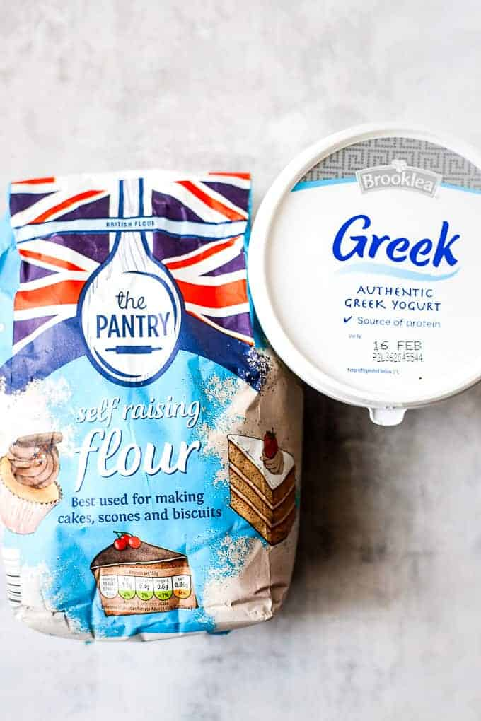Ingredients for 2 ingredient naan bread made without yeast. All ingredients from Aldi.