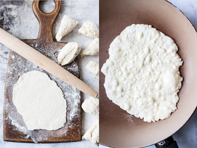 rolling out naan bread and pan frying it step 3 & 4 easy homemade naan.