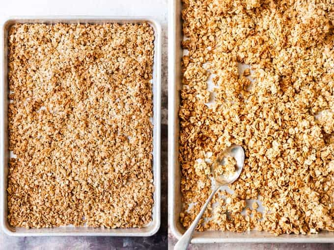 Clusters of easy homemade granola on a baking tray.