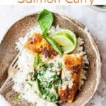 Coconut curry with salmon and spinach. Aldi ingredients.