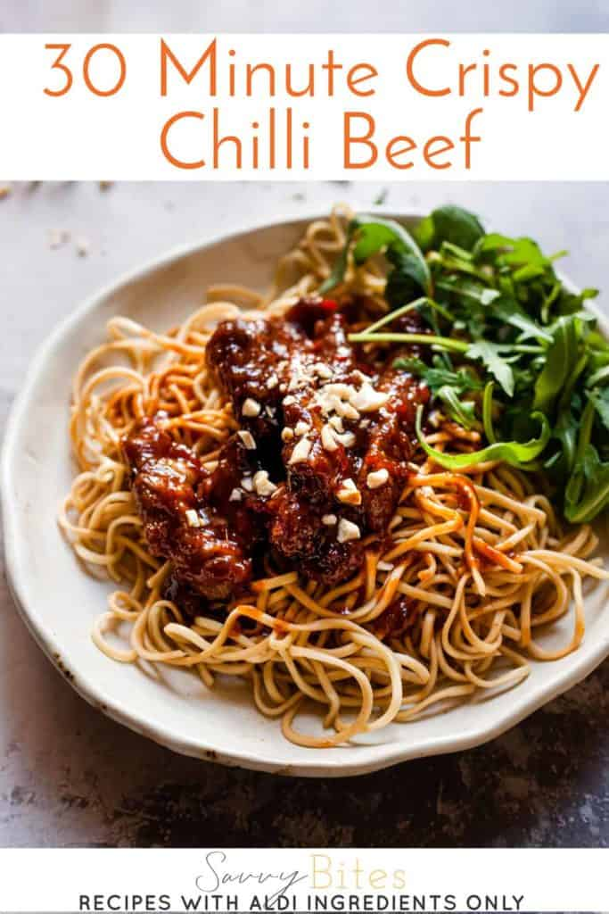 30 minute crispy chilli beef with text overlay.