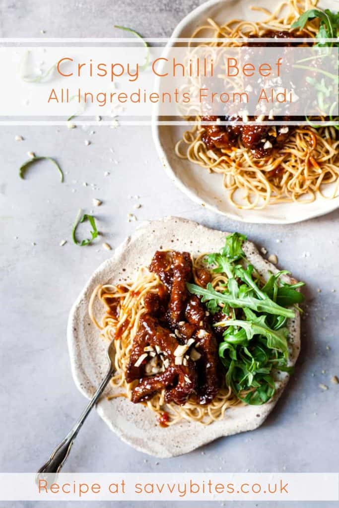 Simple dinner recipes. crispy chilli beef with text overlay.