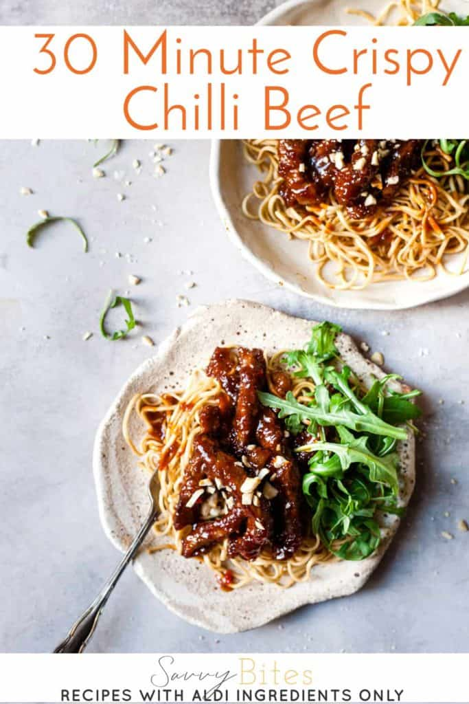 Easy Chinese crispy chilli beef with text overlay.
