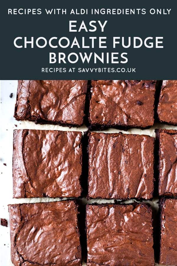 Brownie squares on a cooling rack with text overlay for Pinterest. All ingredients from Aldi UK.