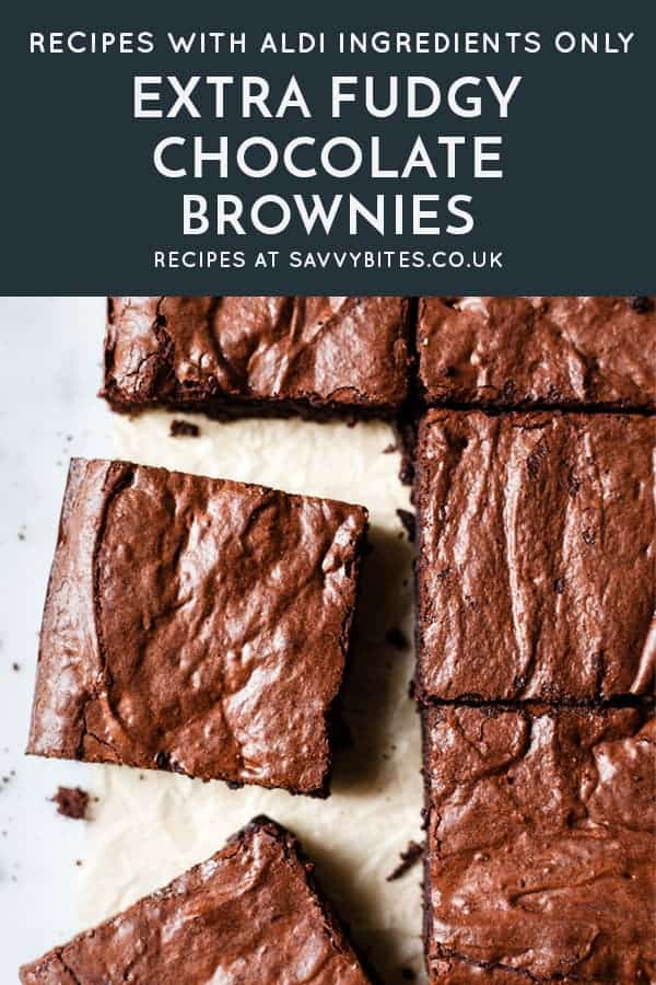 Brownies cut into squares with text overlay. All ingredients from Aldi UK.