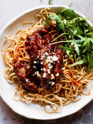 crispy chilli beef on noodles. Aldi Ingredients only.