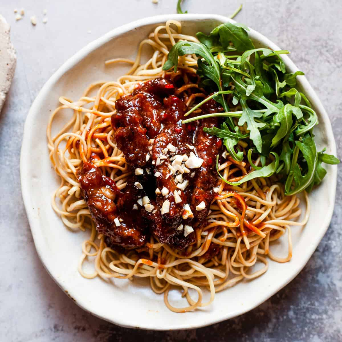 crispy chilli beef on noodles. Aldi Ingredients only.