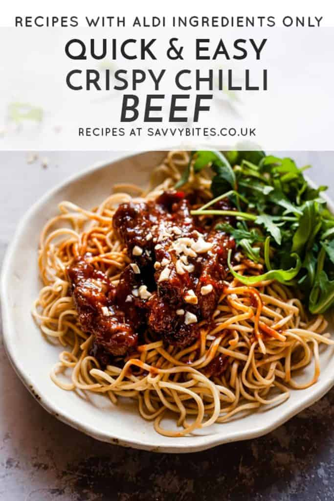 Easy crispy chilli beef with text overlay.