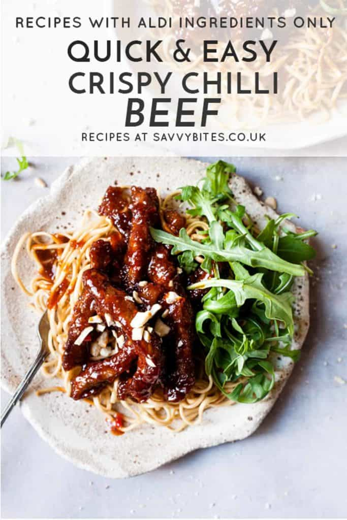 Chinese crispy chilli beef with text overlay.