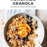 chunky maple granola with text overlay