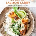 Creamy coconut salmon curry in a hurry made with Aldi ingredients.