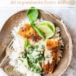 Creamy coconut curry made with Aldi Ingredients.